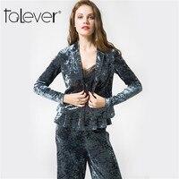 2017 Autumn Fashion Elegant Velvet Women Suits Big Size Cotton Blends 2 Pieces Solid Blazer Ankle