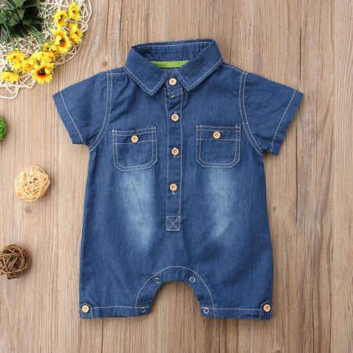 Летний Новый джинсовый комбинезон для маленьких мальчиков и девочек, голубой комбинезон, детский игровой костюм с коротким рукавом, модная повседневная одежда для малышей
