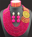 Rose Red Orange Nigerian Wedding Beads Jewellry Set Choker Necklace Set African Women Bridal Jewelry Set Gold Plated Free Ship