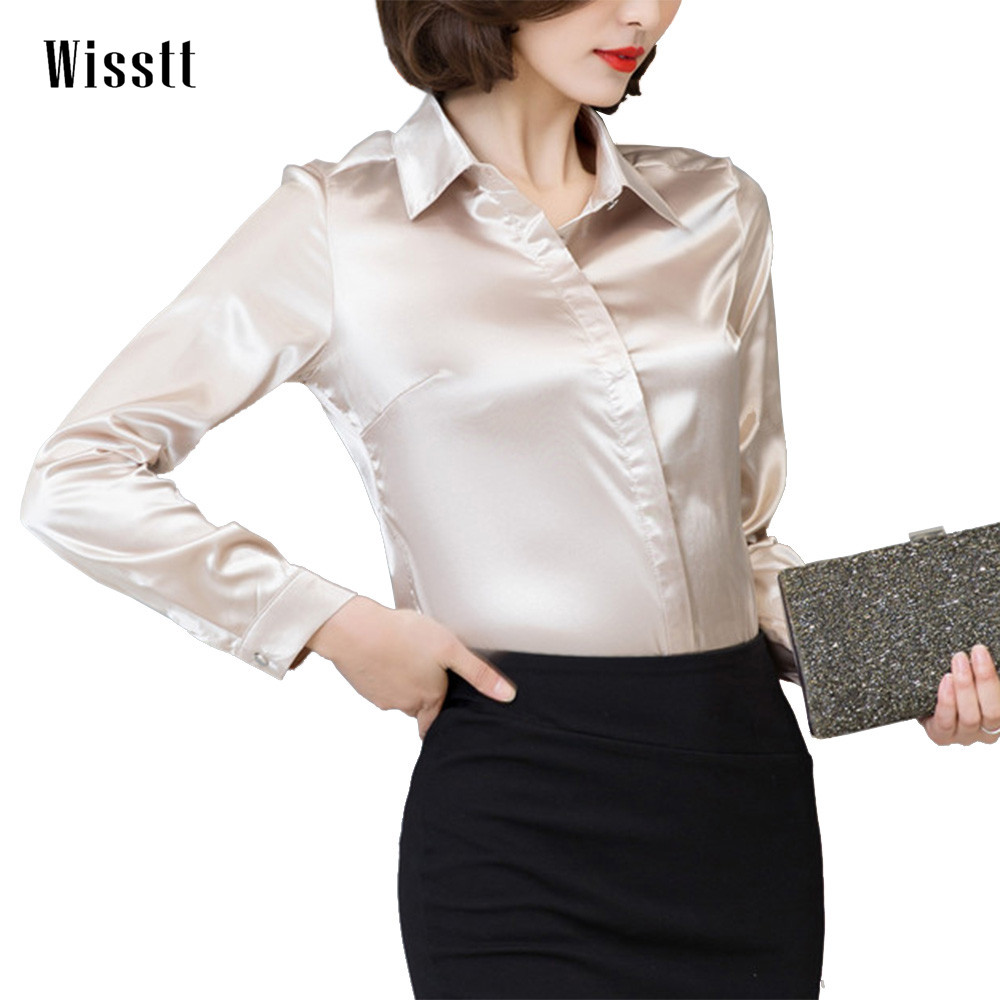 все цены на Women Satin Silk Long Sleeve Button-Down Shirt Formal Work Business Silky Shiny Blouse Top Elegant Fashion M-3XL 7 Colors