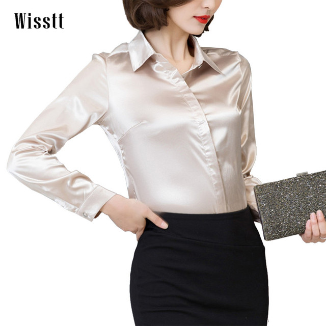 0831ecf7 Women Satin Silk Long Sleeve Button-Down Shirt Formal Work Business Silky  Shiny Blouse Top Elegant Fashion M-3XL 7 Colors