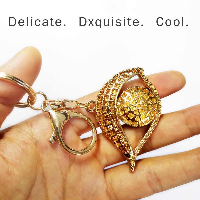 شخصية معدنية كريستال عين الشر سلسلة مفاتيح حقيبة سيدة فاخرة قلادة المرأة حقيبة قلادة تذكارية حلقة رئيسية