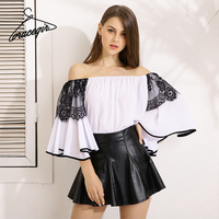 Gracegirl 2017 Summer Women Tops Series Spring Fashion Slash Mesh Patchwork Flare Sleeve Sexy Blouse Shirt