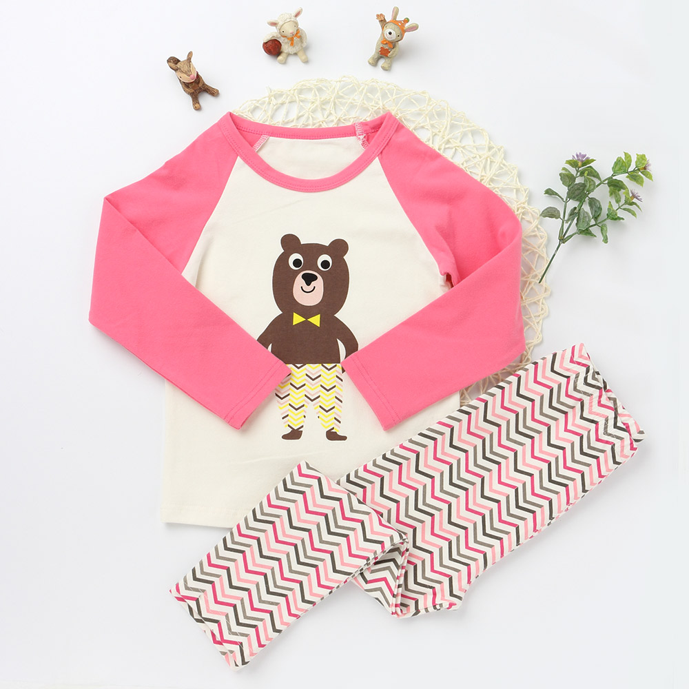 New Casual Pajamas Sets For Girls And boys Character Sleepwear Children Trousers Kids Long Sleeve T shirts Cotton Clothing Suits