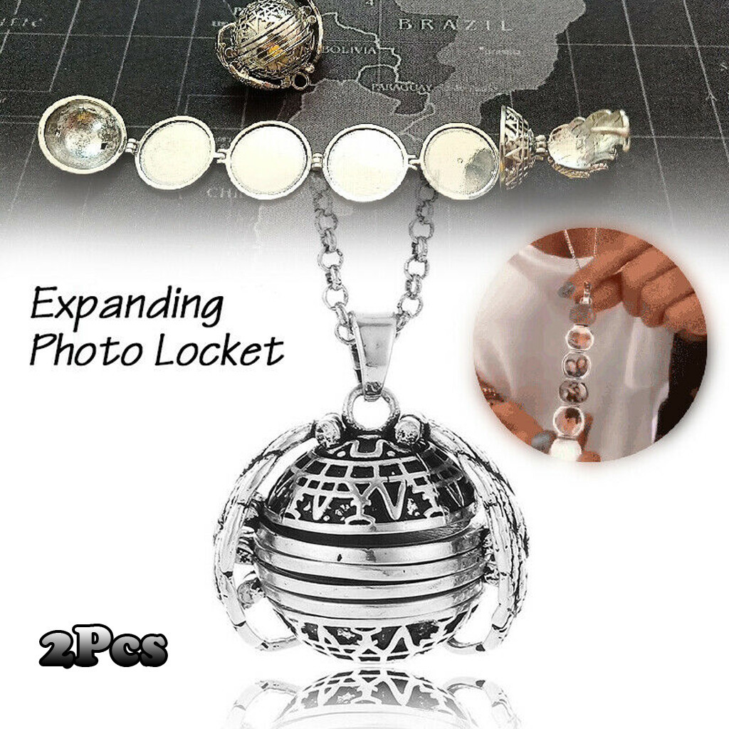 2pcs Creative Expanding Photo Locket Necklace Pendant Angel Wings Gift Jewelry Necklace Exquisite Ornaments Torque Pendant <font><b>Q5</b></font> image