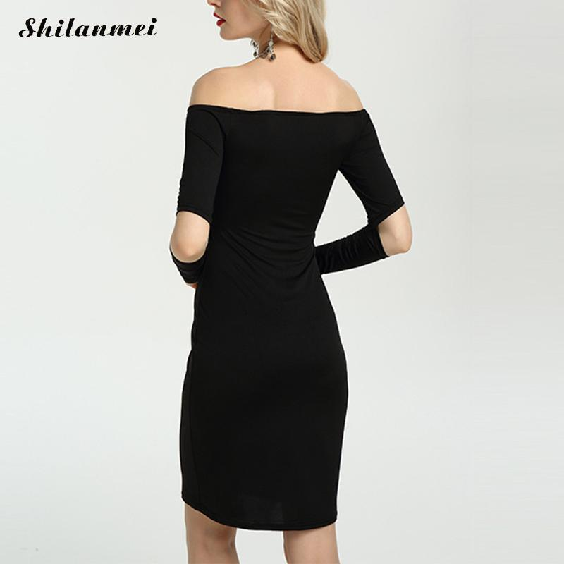 Sexy Off Shoulder Slash Neck Party Dresses Autumn Long Sleeve Hollow Ladies Office Work Dress Elegant Bodycon Package Hip Dress