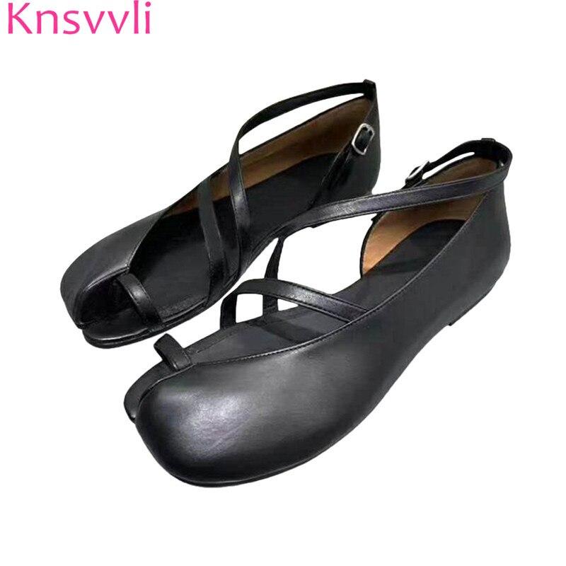 Knsvvli New Flat Black Leather Shoes Women Split Toe Narrow Buckle Strap Comfort Lazy Shoes Fashion