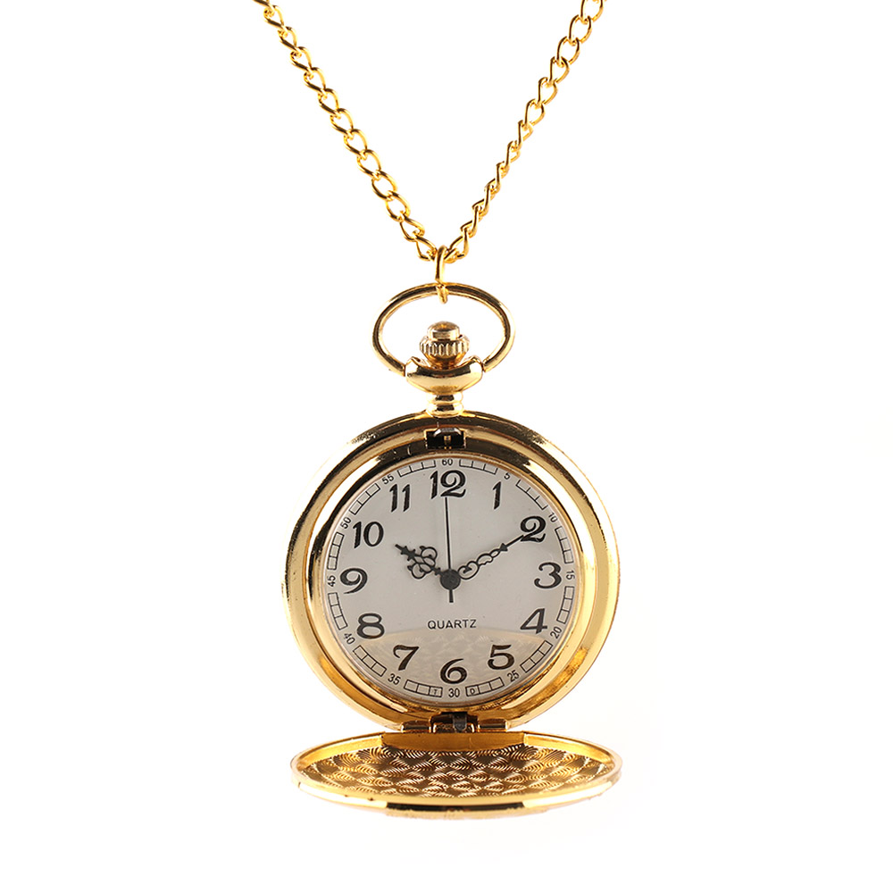 Charming Gold Train Carved Openable Hollow Steampunk Quartz Pocket Watch  Men Women Necklace Pendant Clock Gifts