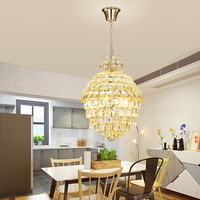 Golden Round Crystal Lamp Living Room Pendant Light Led Modern Fashion Study Bedroom Lamp Stairs Balcony Lighting