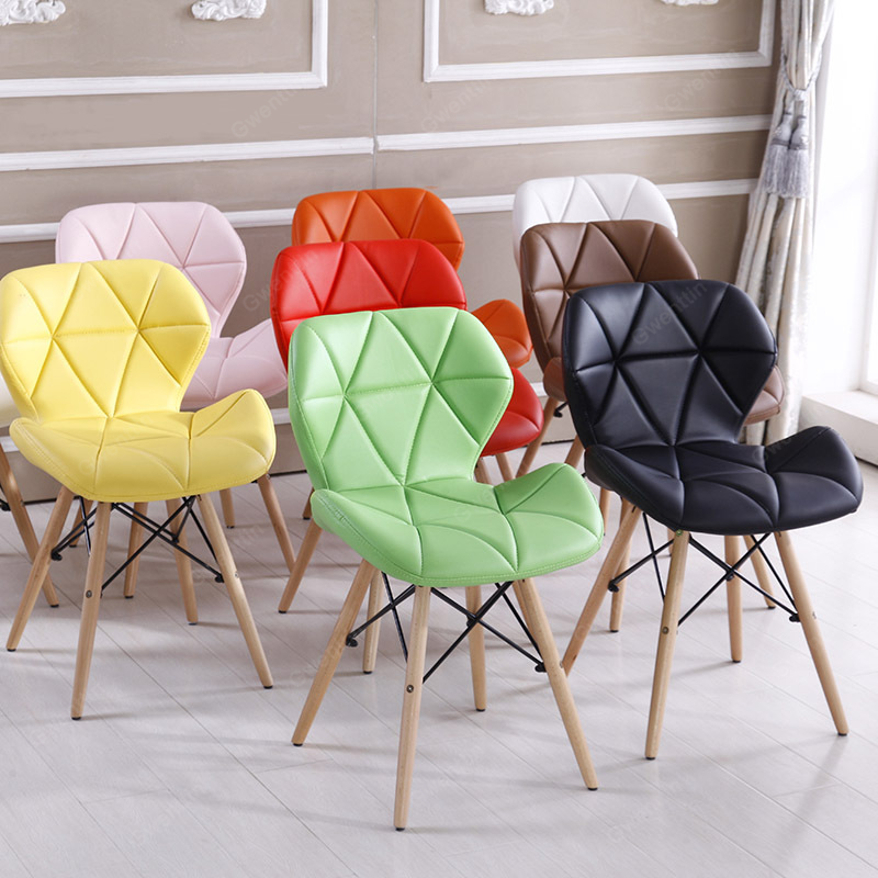 Nordic Fabric Wooden Dining Chairs Solid Wood Office Computer Kid White Chair Modern Minimalist Home Sofa Living Room Bar Stool