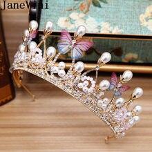 946899dee817 JaneVini Boho mariposa nupcial Tiaras y coronas de perlas de cristal de  novia joyas tocado de la boda diadema accesorios de fies.