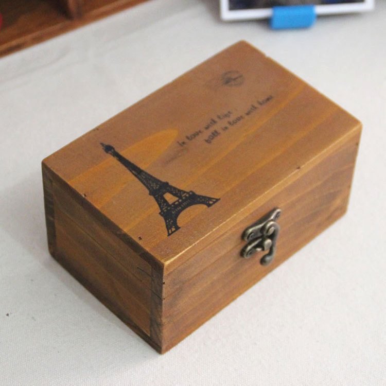 Zakka Wooden Storage Box with Lock Eiffel Tower Rectangle Small Boxes for Crafts Accessories Toys Organizer 9056