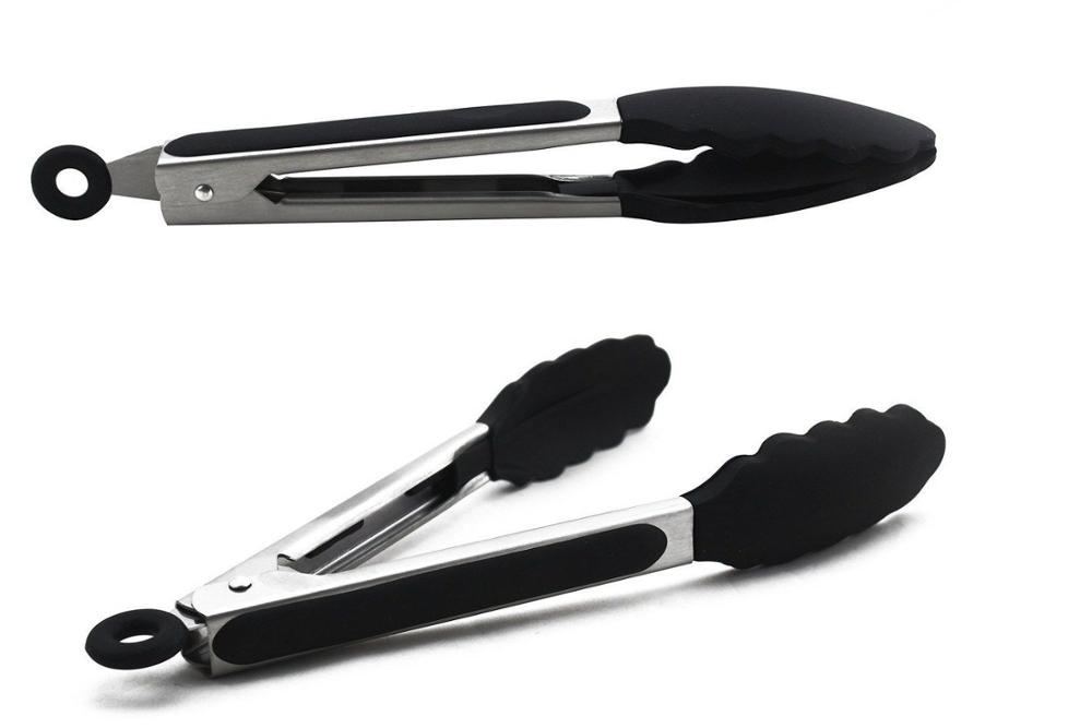 Barbecue BBQ Tongs Silicone Kitchen Cooking Salad Serving BBQ Tongs Stainless Steel Handle Utensil