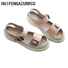 HUIFENGAZURRCS-Literature and art New Summer Sandals,Open Toe Soft Bottom genuine Leather Sewing Handmade Female Shoes,3 colors