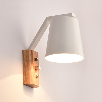 creative wood iron wall sconce band switch modern led wall light