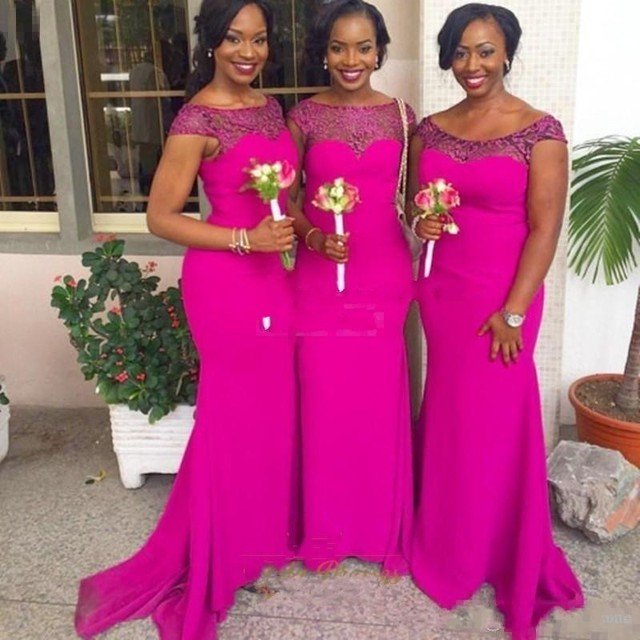 31b2507ec2 Vintage Fuchsia Long Mermaid Bridesmaid Dresses Sheer Neck Cheap African  Maid of Honor Gowns Hot Pink Wedding Guest Dress