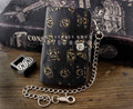 Punk Motorcycle Leather Wallet With Chain Skull Mens or Boys Gift
