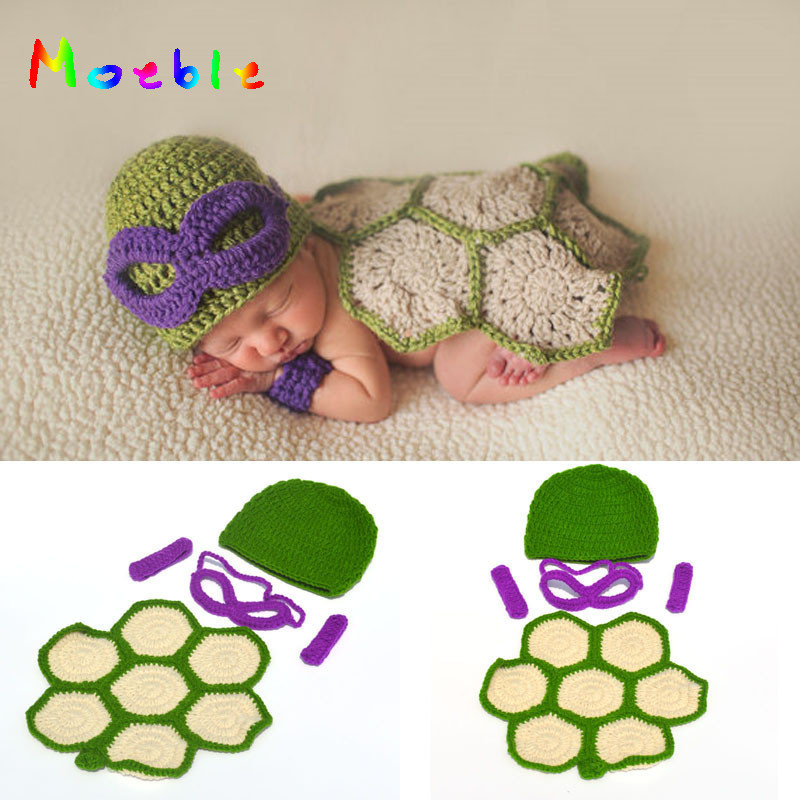 a8572d8ab US $1.71 41% OFF|Ninja Turtles Newborn Baby Photography Props Crochet  Knitted Baby Cartoon Costume Crochet Infant Baby Turtle Outfit MZS 16035-in  Hats ...