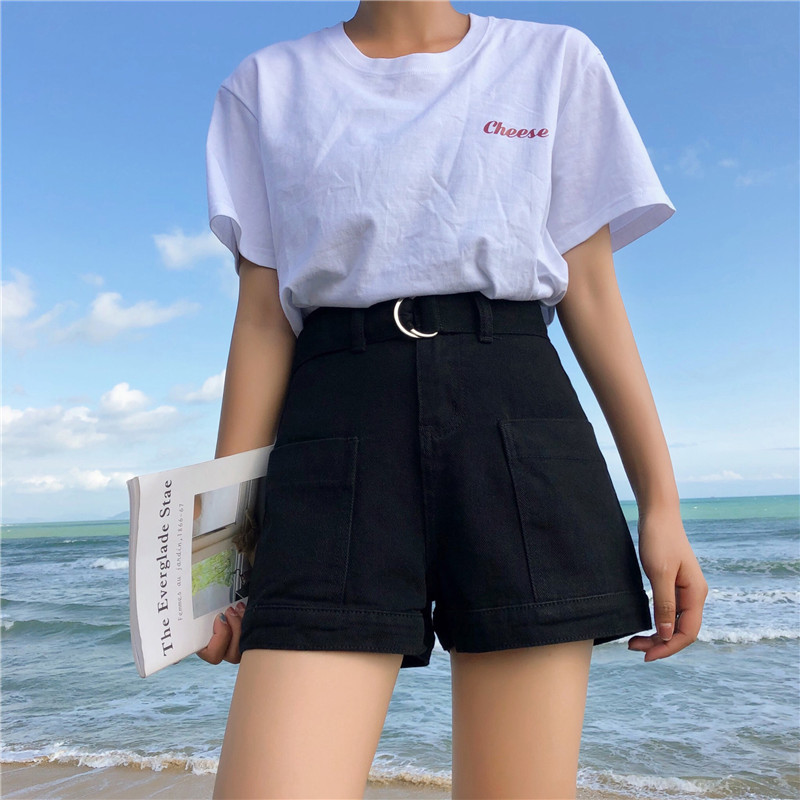 S-XL 3 colors 2019 summer korean style high waist   shorts   feminino denim   shorts   black jeans womens casual a line   shorts   (Z6282)