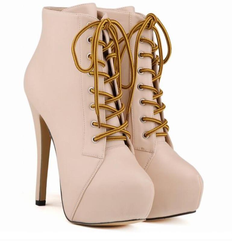 Mulheres botas de inverno novo design mais leve estranho calcanhar ankle boot mulheres preto couro real lace-up botas curtas Não -deslizamento sapato de borracha