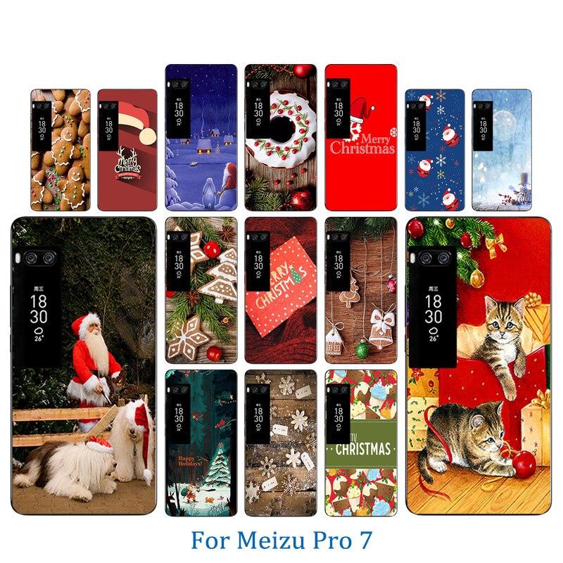 Pour Meizu pro 7 Cas Joyeux X'MAS Modèle Souple TPU Cas De Luxe Silicone Cas Pour Meizu pro 7 Doux Retour coque de couverture Fundas Couverture