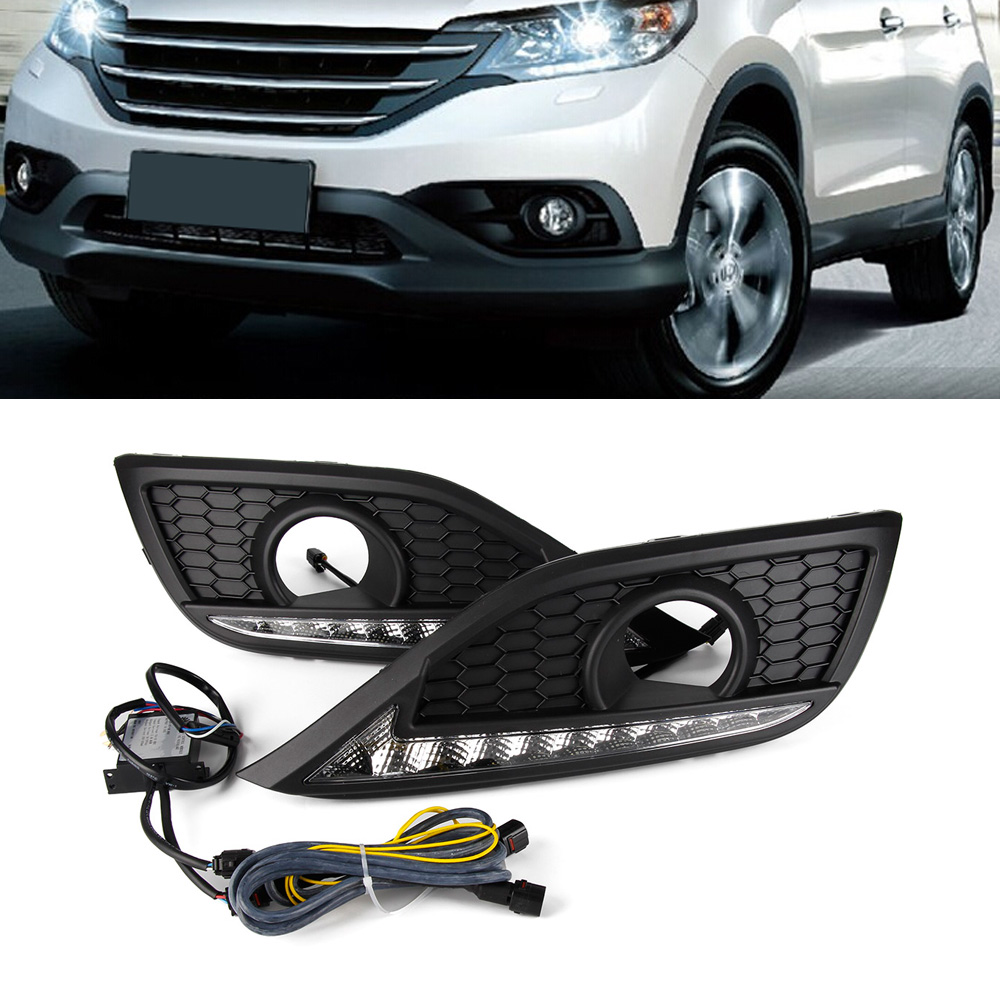 New Arrival Auto Car LED Driving Daytime Running Lights Turn Signal White Yellow Pair For Honda CRV 2012 new arrival a pair 10w pure white 5630 3 smd led eagle eye lamp car back up daytime running fog light bulb 120lumen 18mm dc12v