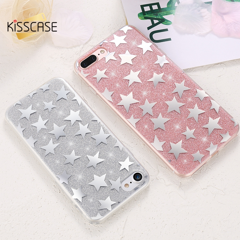 KISSCASE For iPhone 7 Case Soft Silicone Cases For Apple iPhone 7 8 Plus 6 6S Plus 6 6s Case Glitter Mobile Phone Cover Capinhas
