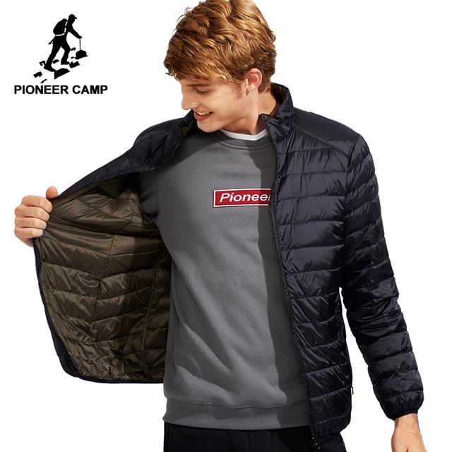 Pioneer camp dwa kolor odwracalne nosić dół kurtki mężczyźni ultra cienki i lekki biały płaszcz z kaczego puchu mężczyzna AYR701384 tanie tanio STANDARD REGULAR Na co dzień zipper Pełna Stałe Suknem NONE Nylon Białe kaczki dół Poliester 100g-150g 0 3kg