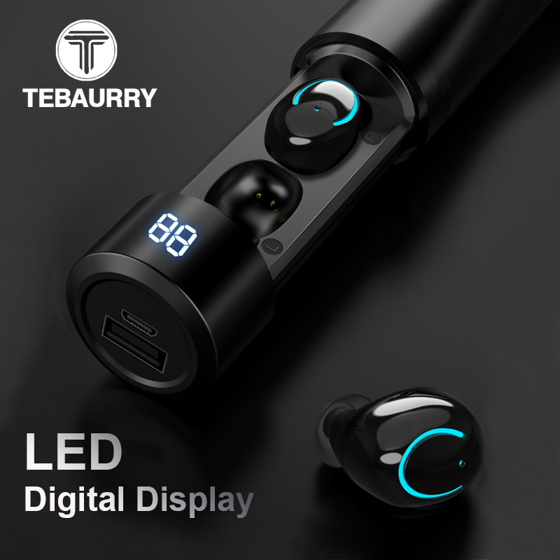 TEBAURRY TWS Invisible Mini Bluetooth Headset Wireless Bluetooth Earphone Stereo Earbuds with Charging box for iphone xiaomi bluetooth