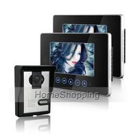 Có dây 7 inch Màu Căn Hộ Cảm Ứng Video Intercom Door Hệ Thống Điện Thoại 2 Màn Hình + Night Vision IR Camera chuông Cửa MIỄN PHÍ VẬN CHUYỂN