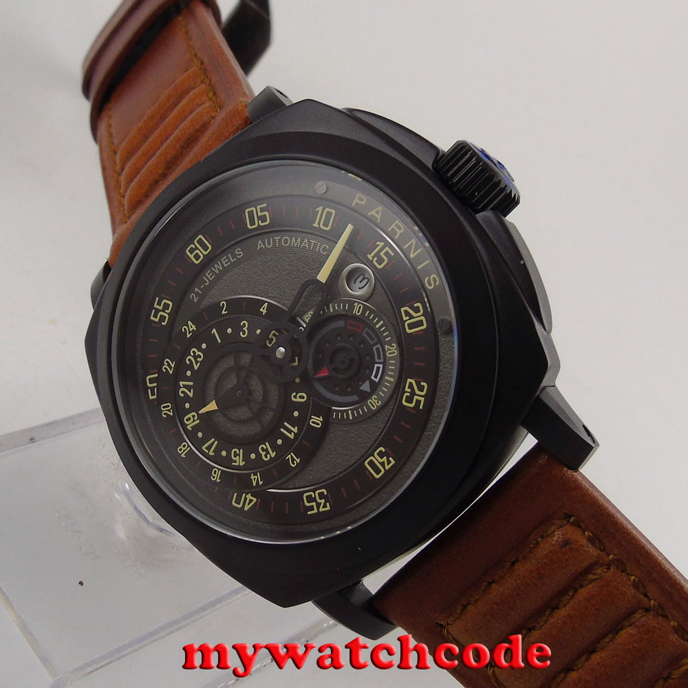 лучшая цена 44mm parnis black dial PVD case Sapphire Glass automatic military mens Watch790B