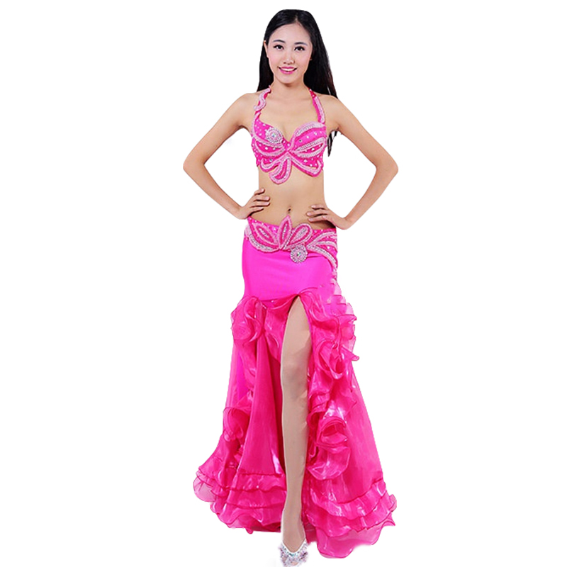 2018 Performance Belly Dancing Egyptian Costumes Oriental Dance Outfits 3pcs Women Belly Dance Costume Set Bra