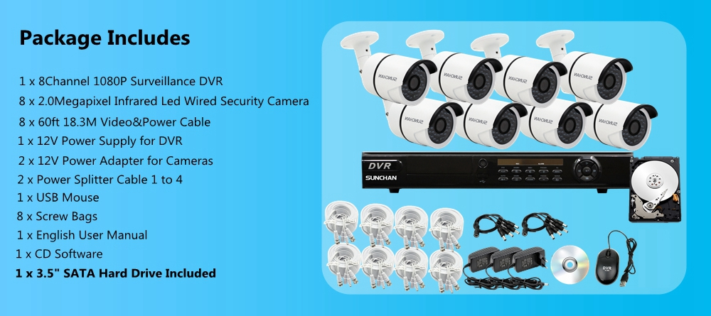 8CH 1080P DVR AHD Outdoor CCTV Home Security Camera System 1TB