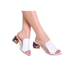 Image 3 - Rhinestone Heel Shoes Peep Toe Womens slippers Sexy Open Toe Shoes Wedge Non slip Womens  High Heel slippers Flip Flop Plus 41