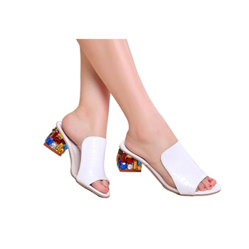 Rhinestone Heel Shoes Peep Toe Women's slippers Sexy Open Toe Shoes Wedge Non-slip Women's  High Heel slippers Flip Flop Plus 41 2