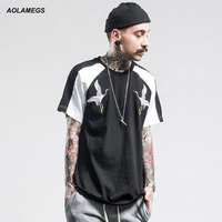 Aolamegs Men T Shirt High Quality Bird Embroidery T Shirt Summer Youth Hip Hop Harajuku Style