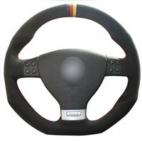 leather hand Top Leather Steering Wheel Hand-stitch on Wrap Cover For Volkswagen Golf 5 Mk5 Golf 5 R32 (1)