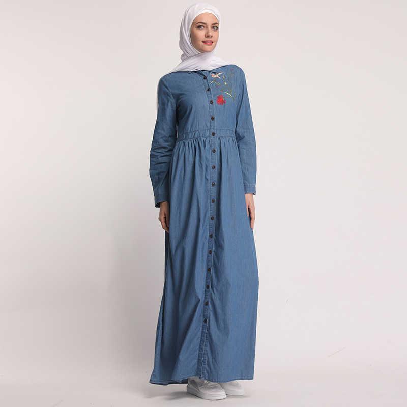 Vestidos джинсовый кафтан abaya Дубай мусульманский хиджаб платье Elbise Абая для женщин Кафтан халат турецкий ислам ic арабские платья
