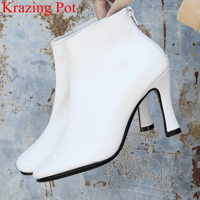 2018 superstar zipper big size genuine leather high heels strange style ankle boots nightclub party elegant autumn shoes L592018 superstar zipper big size genuine leather high heels strange style ankle boots nightclub party elegant autumn shoes L59