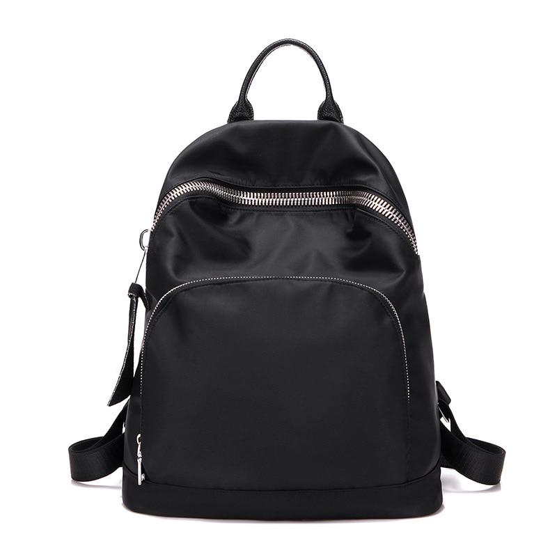 2017 Korean style Brand Fashion Backpack Women Backpacks Solid Girls School Bags Black Oxford Waterproof Women