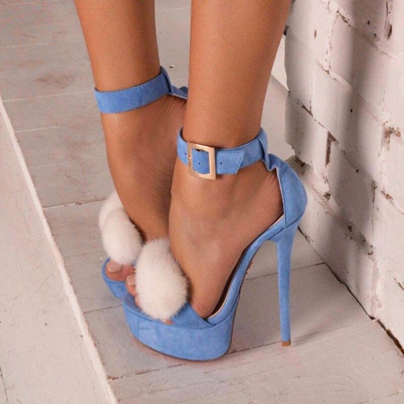 Hot selling blue suede platform sandal white pom pom decorations high heel sandal sexy open toe ankle strap woman sandal three band buckled slide sandal navy blue