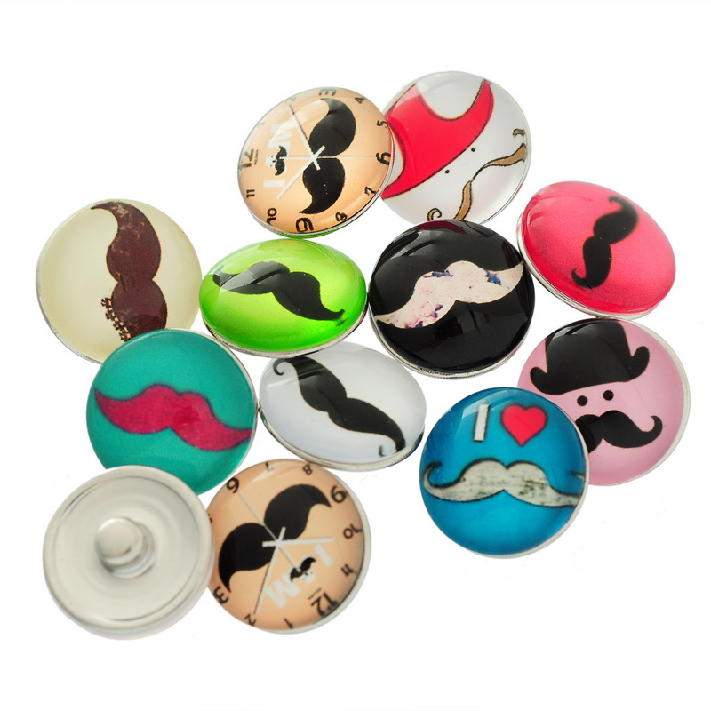 10Pcs Mixed Colorful Beard Mustache Patterns Round Glass Snap Press Buttons Fashion Crafts Making 18mm image