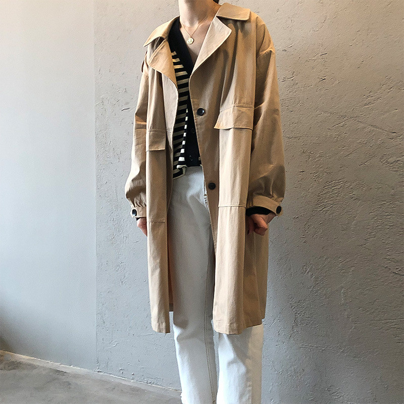 Vintage Cotton Women Coat 2019 Autumn Women 39 s Casual Trench Coat oversize Single Breasted Washed Outwear Loose Clothing 68501 in Trench from Women 39 s Clothing