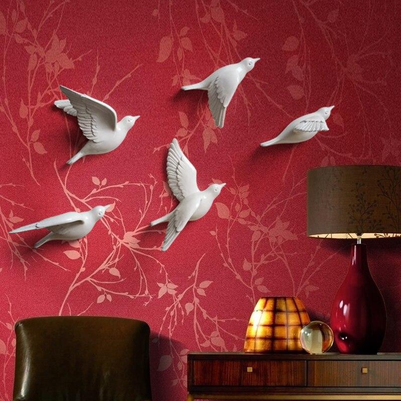 Европейский настенный светильник с птицами из смолы, украшение для дома, гостиной, дивана, телевизора, задний план, 3D настенная наклейка, Настенная роспись, орнамент, искусство - 4
