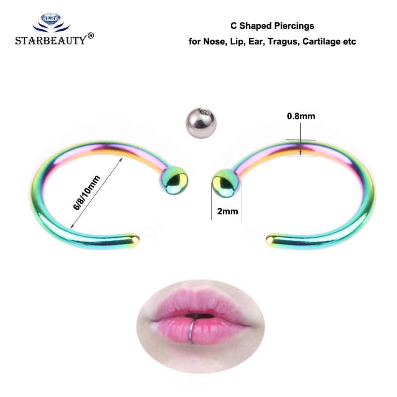 Starbeauty/2 шт./партия, сферическое кольцо для губ с зажимом, кольцо для носа 0,8 мм, пронзительный нос для губ, обруч для женщин, ювелирные изделия для тела, Прямая доставка