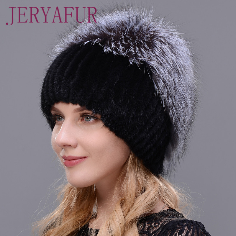 JERYAfur Fashion Real Mink Fur Hat Female High Quality Silver Fox Fur Winter Caps Womens Thick Warmer Knitted Caps Patchwork Cap aiweiyi womens high quality genuine leather real fur 100