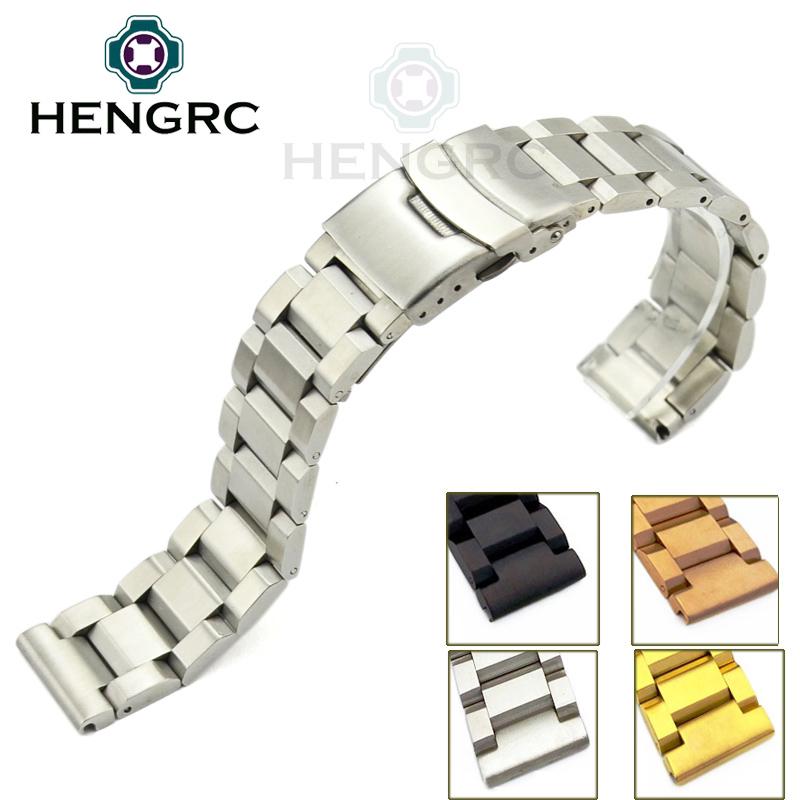 Prix pour Acier inoxydable Bracelets Bracelet 18 20 22 24mm Mens Metal Brossé Bande de Montre De Courroie Remplacer Accessoires