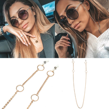 WHO CUTIE Fashion Sunglasses Sun Glasses Chain Women silver Gold Metal clothing Accessories