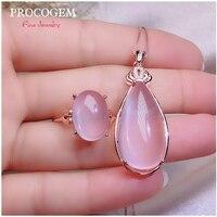Натуральный Мода стразы из розового кварца комплекты украшений для женщин девочек ожерелье для вечеринки кольцо 15Ct большой драгоценные ка
