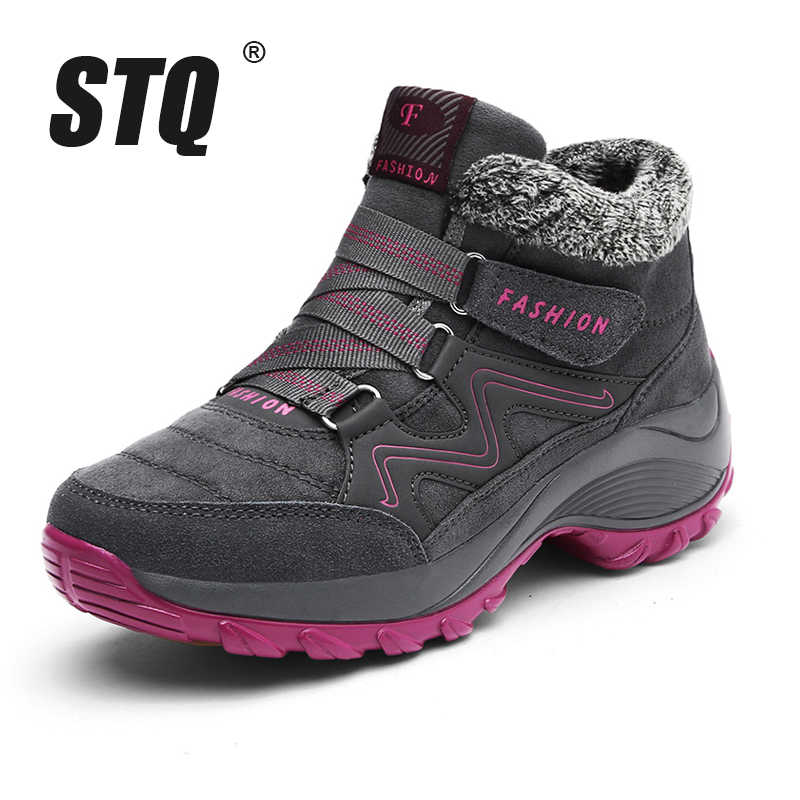 dcfc7476804 STQ 2019 Winter women snow boots women warm push ankle boots female high  wedge waterproof Boots rubber hiking boots shoes 6139
